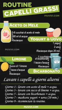 Routine Capelli Grassi  Giorno 1  si inizia con l aceto di sidro di mele  (5-6 cucchiai) diluito in acqua (500 ml). Lavare i capelli con questa  miscela. 8eb11d1bcad1