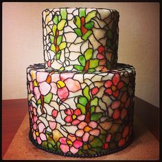 Signature Stained Glass Cake Design by #queenofheartscouturecakes #buttercream #buttercreamart #beautiful #bestcake #cake #cakeartist #cakestagram #stainedglass #stainedglasscake #flowers #ig #iggers #instacake #instamood #foodie #foodart #london #lovely