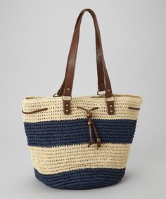 Take a look at this Navy Drawstring Stripe Tote by Surf & Sand: Women's Accessories on @zulily today!