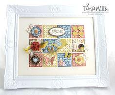 comfort cafe sampler. 3D framed collage made with stampin up supplies!