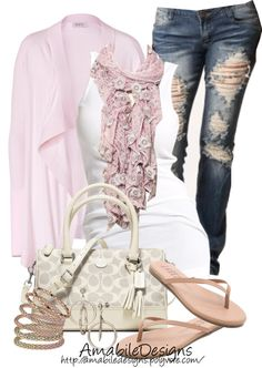 """I like everything except the jeans, too ripped up for something I would normall wear. """"Spring Fever"""" by amabiledesigns on Polyvore"""