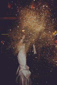 The Happiest Couple in Cincinnati | Best Day Ever Photo | #wedding #sendoff #glitter
