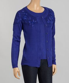 Another great find on #zulily! Blue Embroidered Cardigan & Top - Women #zulilyfinds