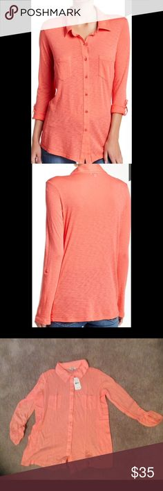 Splendid Knit Shirt Splendid knit shirt is peach toned, long sleeved and button down. Can be dressed up or down. Great to wear over halter dress!  50% Supima cotton, 50% micro modal. Machine wash. Fits true to size. Made in USA. Splendid Tops Button Down Shirts