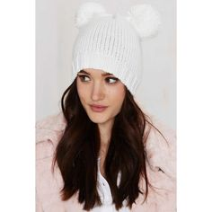 Prepare For Trouble Pom Beanie ($28) ❤ liked on Polyvore featuring accessories, hats, white, beanie hats, white hat, white beanie, amici accessories and pom beanie