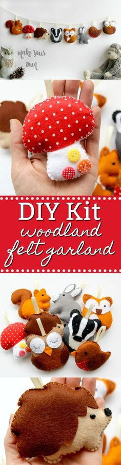 Feeling crafty? This woodland felt garland is a great DIY kit for you to try! #etsy #affiliate #oybpinners #crafts