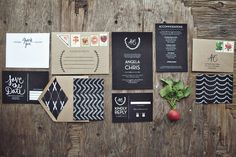 Classic Chalkboard Invites from Yours Is The Earth