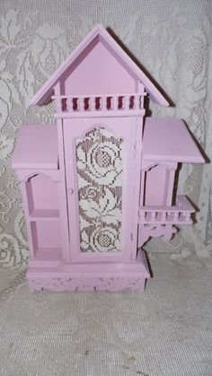 Shabby Chic Wood Pink Victorian House Figurines Wall Cabinet Home Decor Handcrafted by on Etsy Shabby Chic Shelves, Pink Houses, Selling Antiques, Victorian Homes, Victorian Fashion, Cabinet, Wood, Handmade, Vintage