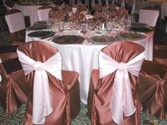 Lamour Satin Chocolate Chair Covers and Ivory Table Runners as Sashes for the wide look!!