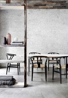Wishbone chair and CH335 dining table by Hans J Wegner from Carl Hansen