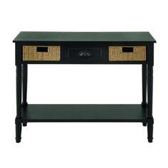 This console table features a black stained wooden surface which makes this piece the perfect neutral table for many decorative environments. The top of the table features one wooden drawer with a black painted metal handle to store your small items, and it also features two matching woven wicker basket drawers that gives this piece a chic yet subtle decorative tone and utilitarian purpose.