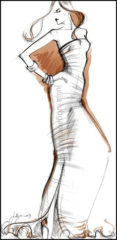 Fashion Illustration project for new client. These illustrations will be added to a web page design. Illustrations are created using paper, pencil, Photoshop and Wacom tablet.