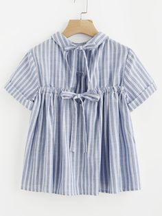 Shop Striped Bow Tie Back Cuffed Smock Top online. SheIn offers Striped Bow Tie Back Cuffed Smock Top & more to fit your fashionable needs.