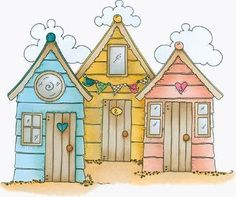 Molly Blooms Rubber Stamps – Seaside Beach Huts - New Deko Sites Seaside Beach, Beach Art, Doodle Sketch, Doodle Art, Child Draw, House Doodle, Illustration Art, Illustrations, House Quilts