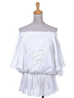 Anna-Kaci S/M Fit White Off-Shoulder Embroidered Butterfly Sleeve Peasant Blouse Anna-Kaci. $32.90