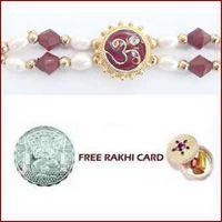Beautiful Zardosi Bhaiya Bhabhi Rakhi Pair with Free Silver Coin