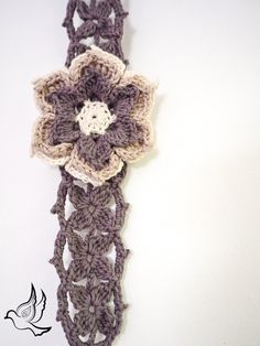 Flower Crown, Floral Hair Accessory, Pinup Headband, Flower Hairband, Crochet Lace Hair Tie, Grey Thin Bandanna, Boho Chic, Flowerchild