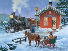 Home for Christmas by John Sloane ~ horse-drawn sleigh