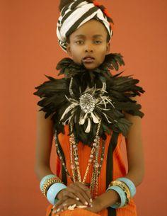 tribal lady | laha magazine fashion editorial #headwrap #feathers