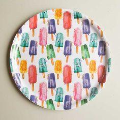 Mehujäätaikaa-tarjotin / Popsicles tray 35 cm / Käpynen Popsicles, Fabric Design, Tray, Textiles, Plates, Ceramics, Tableware, Prints, Nice