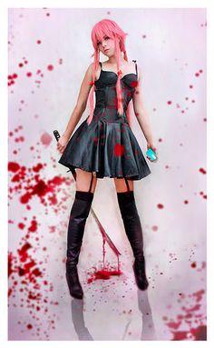 Anime Mirai Nikki The Future Diary Gasai Yuno Black Sling Dress Cosplay Costume