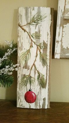RED Hand painted Christmas decoration, GIFTS UNDER Pine Branch with Red Bulb, Reclaimed barnwood, Pallet art, Shabby chic Original (Diy Christmas Decorations) Noel Christmas, Christmas Signs, Rustic Christmas, All Things Christmas, Winter Christmas, Christmas Ornaments, Primitive Christmas, Christmas Mantles, Pallet Christmas