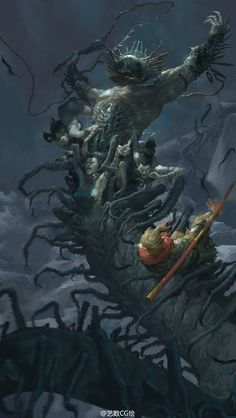 Sun Wukong vs Demons by Fenghua Zhong. (via Fenghua Zhong)  More Fantasy here.