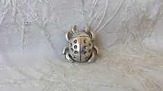 "Vintage Taxco Mexican Sterling Silver Beetle Pin 1 1/8"" 9.9 grams Estate Find"