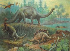 Vintage paleoart by Vasily Vatagin