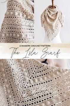 This lacy traingle scarf crochet pattern by Darling Jadore for The Isla Scarf is a great crochet pattern to make a beautiful lace triangle shawl scarf! Crochet Lace Scarf, Crochet Triangle Scarf, Crochet Shawls And Wraps, Crocheted Lace, Crochet Scarves, Crochet Clothes, Knit Crochet, Easy Crochet Shawl, Modern Crochet Patterns
