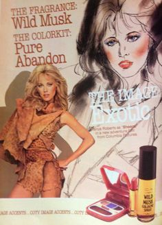 "TANYA ROBERTS , Coty ""Pure Abandon"" Makeup ""Color Kit"" Ad, 1984"