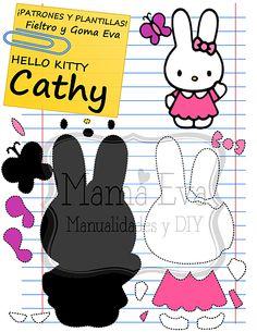 Descarga gratis nuestras plantillas para goma eva y fieltro de tus personajes de dibujos animados clásicos y de los 80's favoritos: Hello Kitty, Keropi...