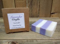 This is my gorgeous handmade natural and lavender scented striped soap. It is made in small batches using the cold process method of soap making, they are individually cut and then cured for 6 weeks to create the finished bar of soap.  #HandmadeInMyKitchen #ForTheLoveOfLavender #LavenderCraftsKilcoole #LavenderCrafts #HandmadeInKilcoole #AllNaturalIngredients #EcoFriendly #PalmOilFree