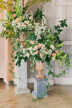 Floral Urns on Pedestals- Peach Garden Roses + Greenery