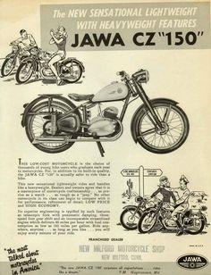 Ulotka reklamowa Jawa z USA Vintage Bikes, Vintage Cars, Jawa 350, Motorcycle Posters, 50cc, Cool Motorcycles, Old Ads, Bike Design, Toys For Boys