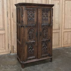 19th Century French Gothic Oak Petit Armoire ~ Bonnetiere | Www.inessa.com