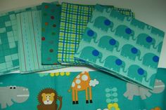 Moda Bungle Jungle 6 fat quarters Teal by quiltpatternsandmore, $17.00