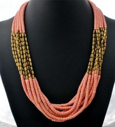 Coral Shell Heishi Bead Brass Estate Multi Strand Hand Crafted Necklace Vintage
