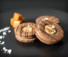 Caramelita Biscuits   Chocolate biscuits filled with caramel and a pinch of sea salt