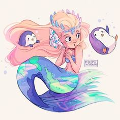 """Who are u talking to Miss?🐧🐚"" #mermay"