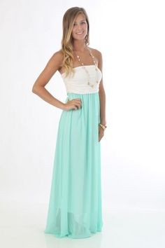 Double Take Maxi Dress, mint  This isn't a tutorial but I would love to find out how to make it! Love the colors!!!