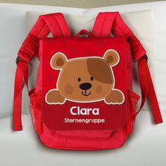 roter Rucksack für Kinder mit niedlichem Teddy, Name des Kindes und Zusatztext | geschenke-online.de