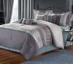 blue comforters | ... Bedding Co. Euphoria Grey & Blue Embroidered 8-Piece Comforter Set