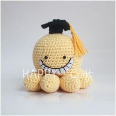 Ganci/Bag charm rajut Koro-Sensei Tinggi 7cm • IDR 60.000/pc cocok dijadikan hiasan meja/pajangan • untuk order bole lgsg PM ya^^ • #crochet #crochetdoll #amigurumi #craft #handicraft #happywithcraft #handmade #handmadewithlove #cute #kawaii #keychain #bagcharm #korosensei #assassinationclassroom #anime #liveaction #boneka #bonekarajut #gantungankunci #gantungantas #pajangan #hadiahlucu Crochet Toys, Crochet Crafts, Free Crochet, Crochet Projects, Knit Crochet, Yarn Projects, Yarn Crafts, Knitting Patterns, Crochet Patterns