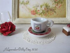 Black Cherry Tea Cup and Saucer for Dollhouse by alavenderdilly, $3.00