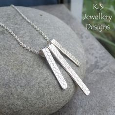 Bubbles Textured Bars Sterling Silver Necklace - Handstamped Metalwork Jewellery £35.00