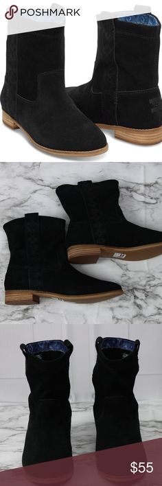 NEW TOMS Black Suede Laurel Ankle Boots Western NEW WITHOUT BOX Toms Black Laurel Suede Pull on Ankle Boots Western/Aztec Design going down the sides of the boots Size 7  Q17 TOMS Shoes Ankle Boots & Booties