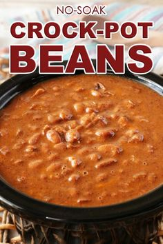 Crock-Pot Beans Pinto Beans made with an extra side of flavor thanks to smoky, thick-cut bacon, onion, and chili po Chili Recipes, Slow Cooker Recipes, Mexican Food Recipes, Cooking Recipes, Dinner Recipes, Healthy Recipes, Mexican Chili Beans Recipe, Bean Crockpot Recipes, Potato Recipes