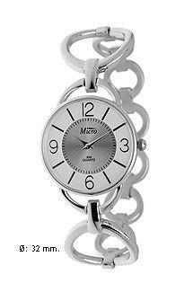 Reloj Micro de mujer y señora en acero con mecanismo de cuarzo, números árabes y armis fino.