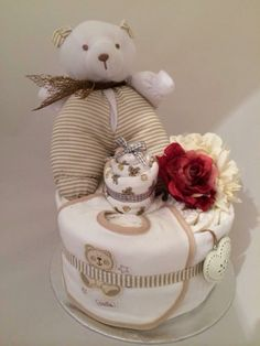 Mini nappy cake with bib, socks and teddy for Mum-to-be xx